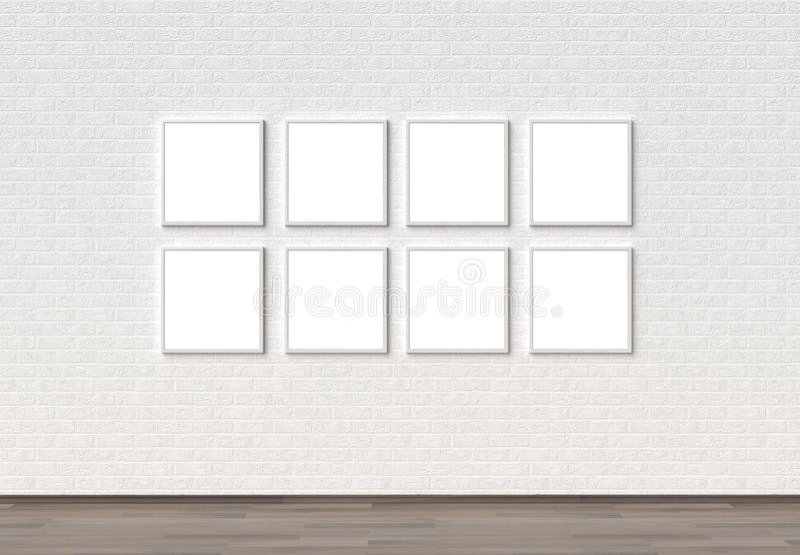 Pusty rama egzamin próbny podnosi na białym ściana z cegieł 3D ilustrować royalty ilustracja