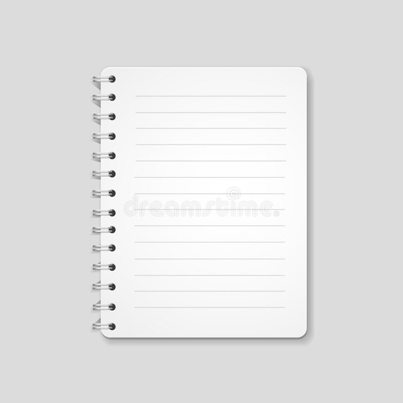 Pusty realistyczny ślimakowaty notatnik, notepad odizolowywający na białym tle royalty ilustracja