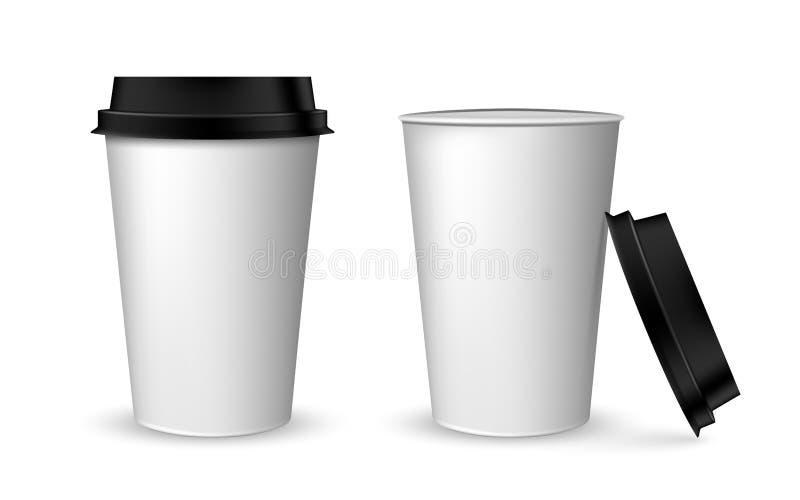 Pusty realistyczny filiżanki mockup Realistyczny papierowy filiżanka set Papierowe filiżanki na bielu ilustracja wektor
