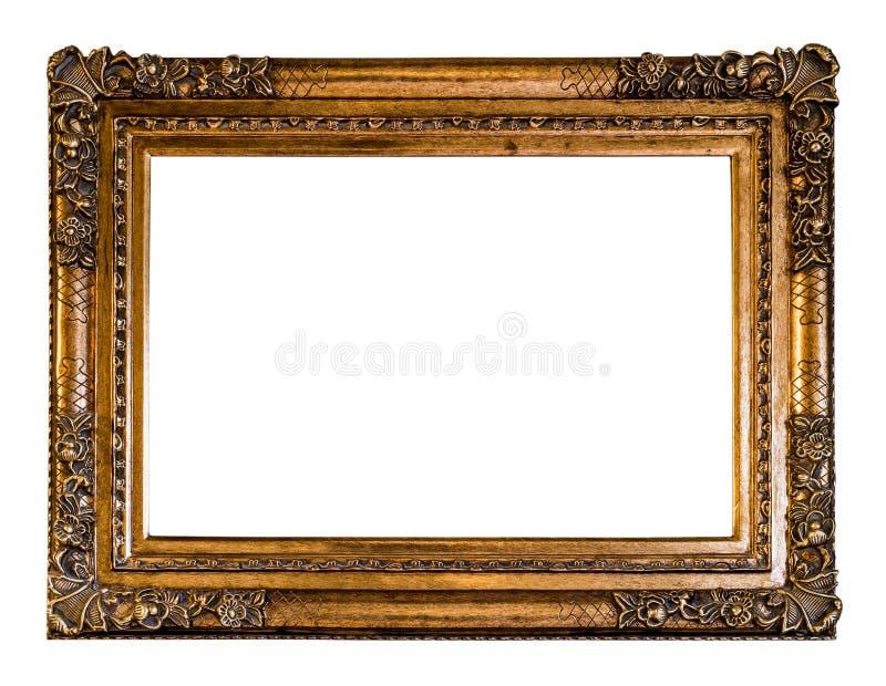 Pusty rocznik Rzeźbił Drewnianą ramę w Złotym kolorze z ścinkiem, zdjęcie royalty free
