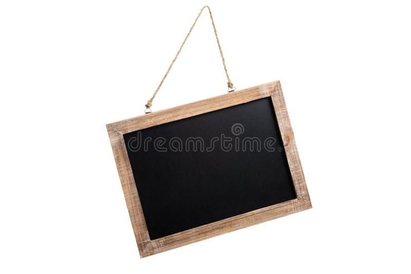 Pusty rocznika chalkboard z drewnianą ramą i arkana dla wieszać obraz stock