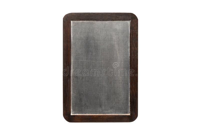 Pusty rocznika chalkboard z drewnianą ramą, odosobnioną na białych półdupkach obraz royalty free