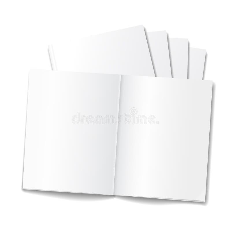 Pusty rozpieczętowany magazyn lub książka szablon na białym tle ilustracji