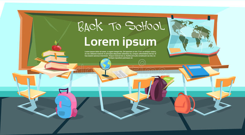 Pusty sala lekcyjnej biurko Z książki torbą Z powrotem edukacja szkolna sztandar ilustracja wektor