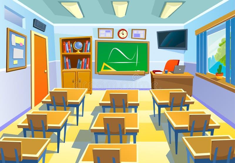 Pusty sala lekcyjnej tło w kreskówka stylu Klasowy pokój kolorowy royalty ilustracja
