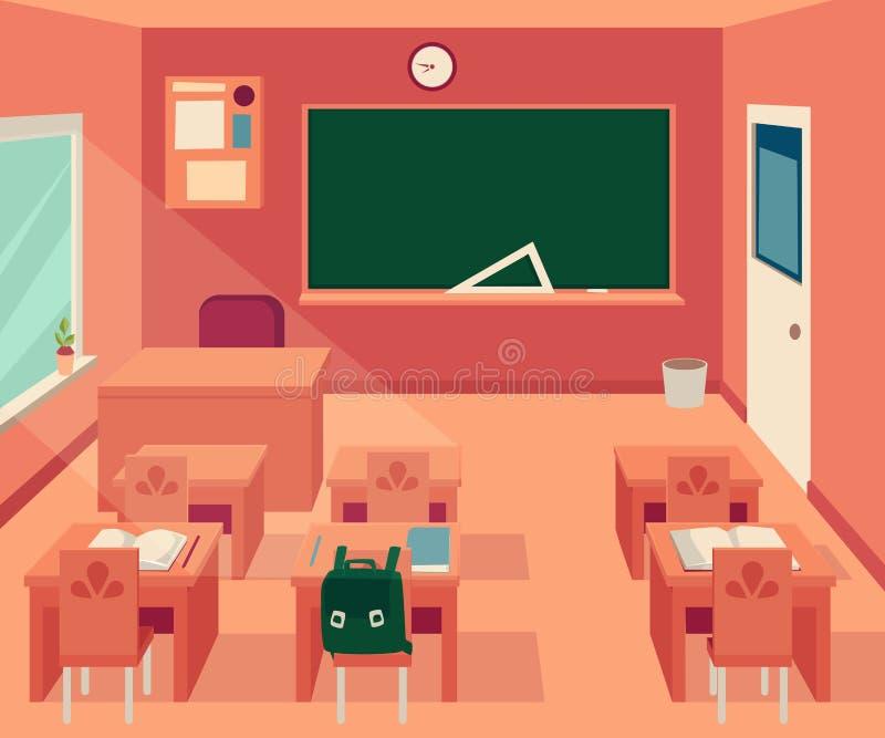 Pusty sali lekcyjnej wnętrze z blackboard, biurka i krzesło kreskówka projektujemy royalty ilustracja