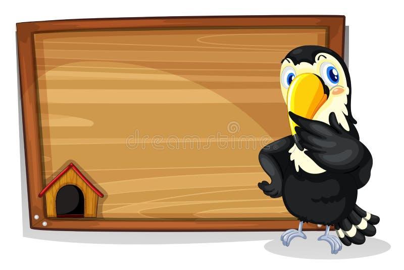 Pusty signboard z czarnym ptakiem ilustracja wektor