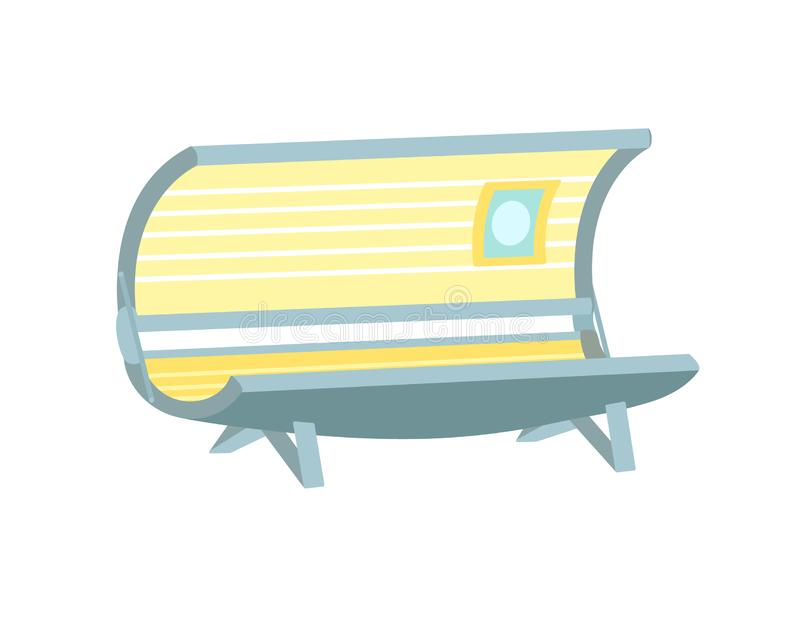 Pusty solarium kreskówki ikony piękna salonu wyposażenie ilustracji