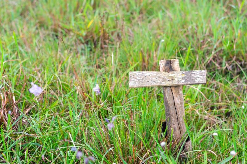 Pusty stary drewniany drogowy signboard nad zieloną trawą na natury tle zdjęcia royalty free