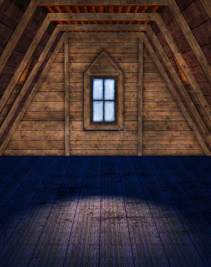 Pusty strychowy pokój ilustracji