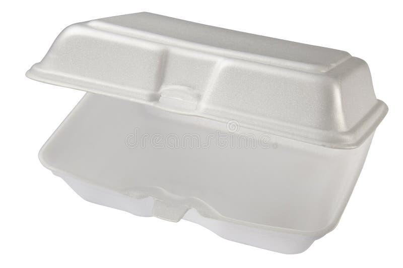 Pusty styrofoam pudełko odizolowywający na białym tle zdjęcia stock