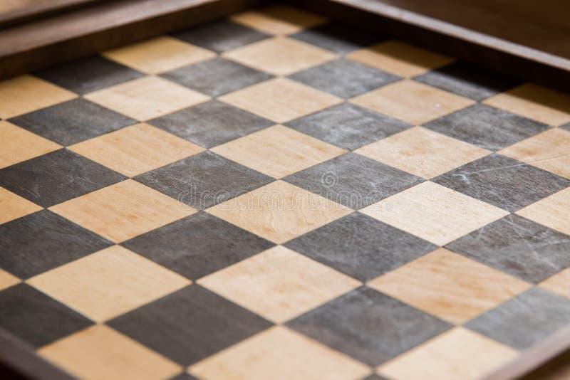 Pusty szachowy gry planszowa drewno obrazy stock