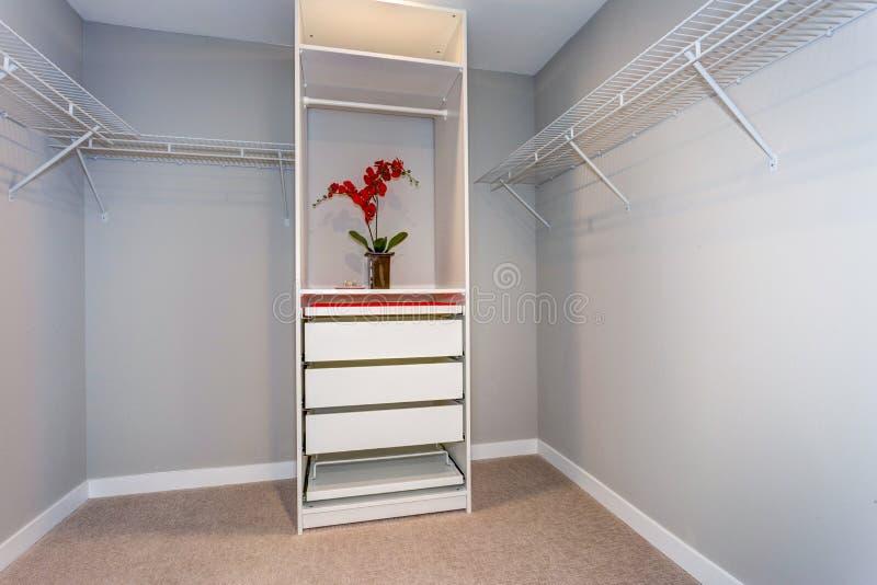 Pusty szafy wnętrze z półkami i białym gabinetem zdjęcie stock