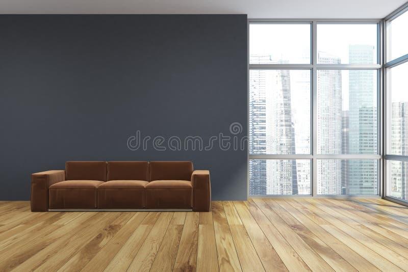 Pusty szary żywy pokój, brown kanapa ilustracji