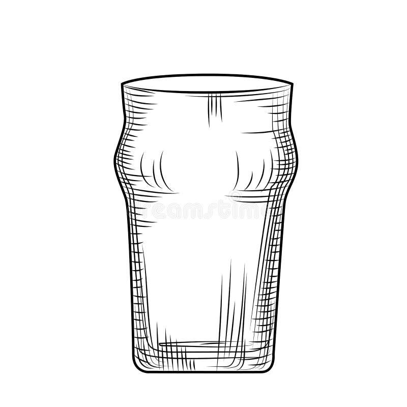 pusty szklank? piwa Grawerowa? styl r?ka patroszona royalty ilustracja