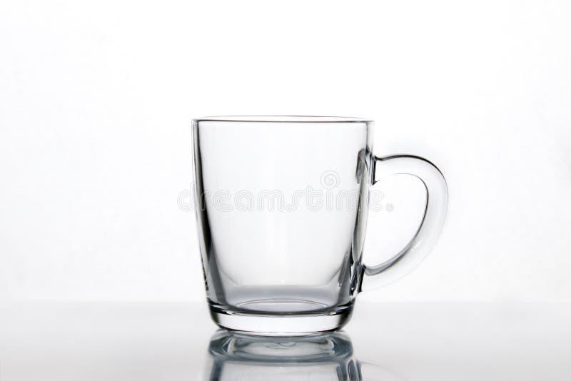 Pusty szklany kawowy latte kubek, filiżanka egzamin próbny obraz royalty free