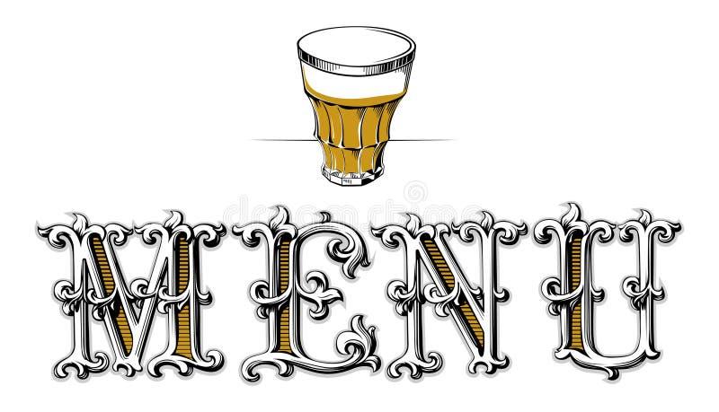 pusty szklany menu ilustracja wektor