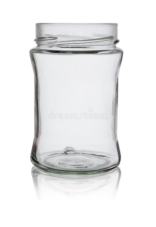 Pusty szklany słój dla dżemu i konserwacji bez pokrywy Odizolowywaj?cy na bia?ym tle z odbiciem fotografia stock