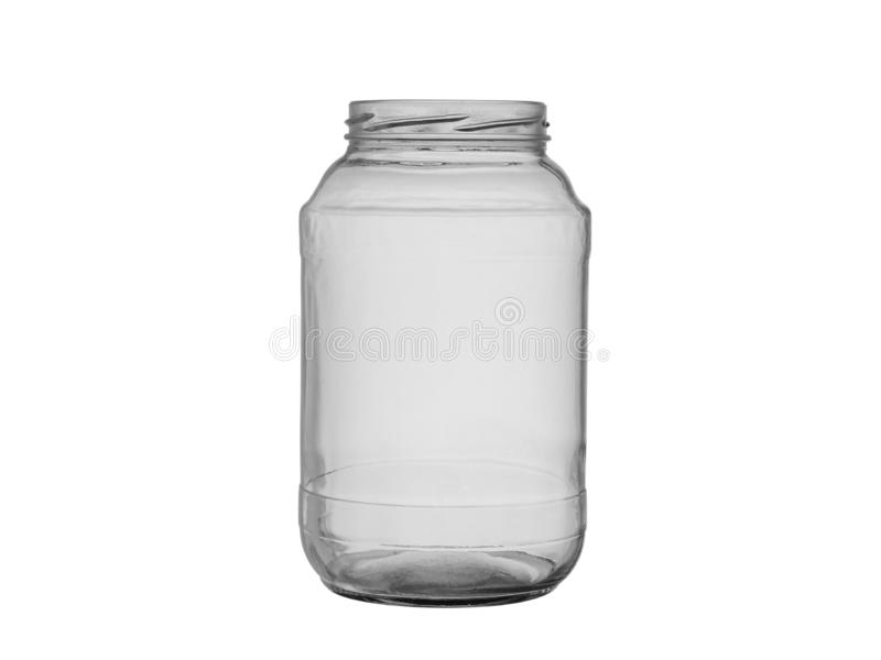 Pusty szklany słój dla konserwować jedzenia i żywność na białym tle fotografia stock