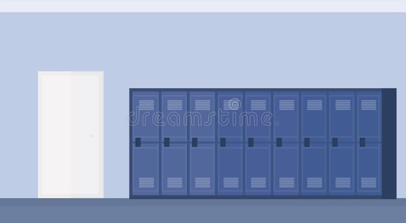 Pusty szkoła lobby korytarza wnętrze z rzędem błękitnych szafek sztandaru horyzontalny mieszkanie ilustracji