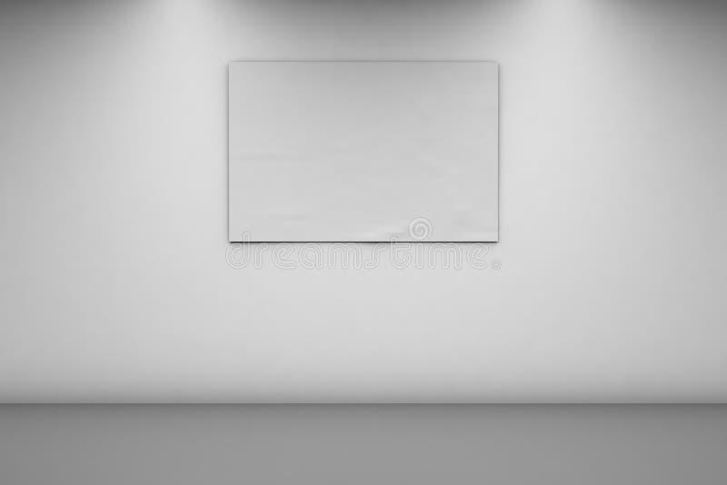 Pusty sztandar 2, 3 na bia?ej ?cianie x Horyzontalny sztandar w pustym pokoju 3d rendering, frontowy widok royalty ilustracja