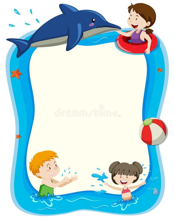 Pusty sztandar z dziećmi bawić się w wodzie ilustracja wektor