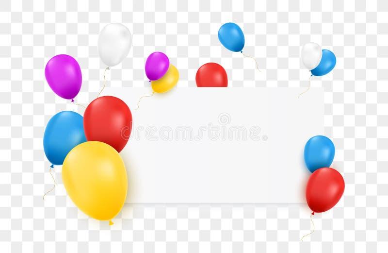 Pusty sztandar z kolorów balonami ilustracja wektor