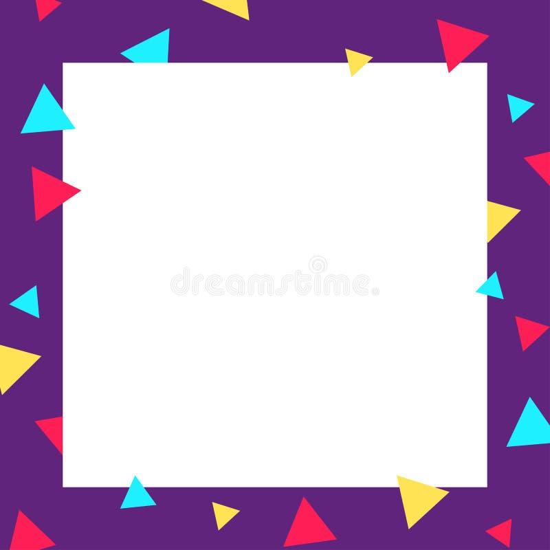 Pusty sztandar z purpurowym ramkarzem i kolorowymi trójbokami ilustracji