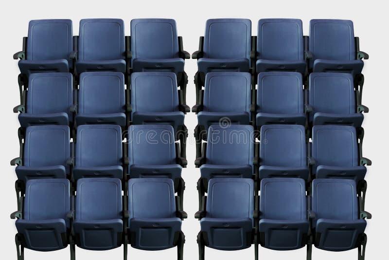 Pusty teatru audytorium, kino z błękitnymi siedzeniami lub obrazy stock
