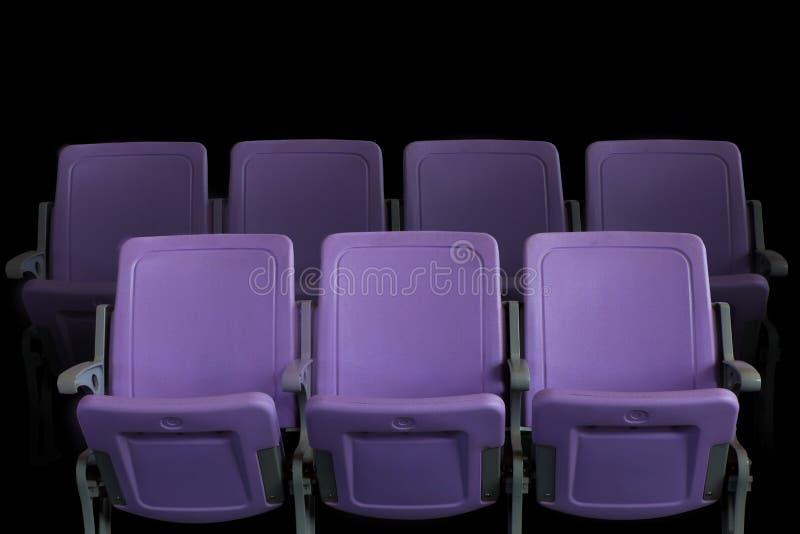 Pusty teatru audytorium, kino z purpurowymi siedzeniami lub zdjęcia royalty free