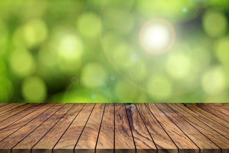 Pusty Tekowy drewniany tło i abstrakta zamazany tło Natu obraz royalty free