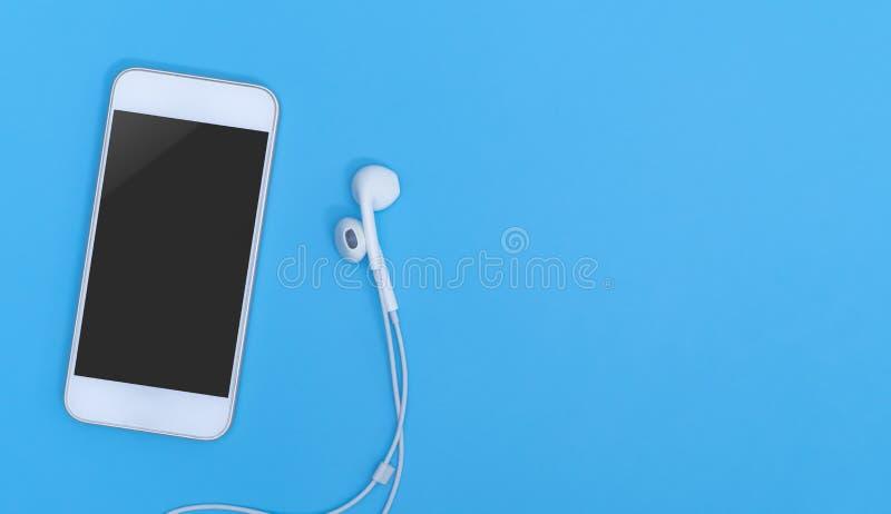 Pusty telefonu komórkowego ekran z Muzyczną słuchawką na błękit kopii przestrzeni dla plakata obrazy royalty free
