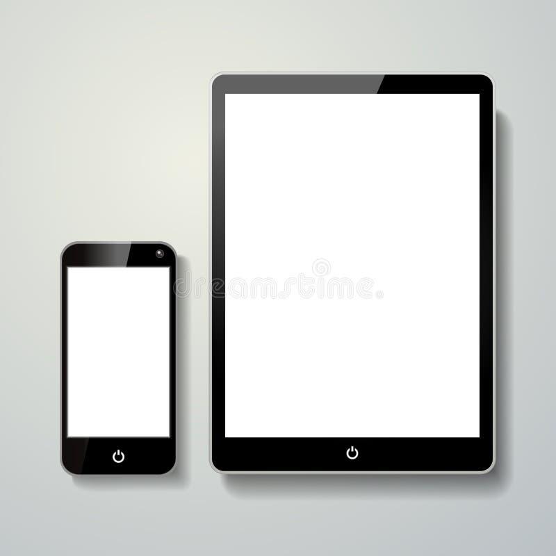Pusty telefonu komórkowego i dotyka ochraniacz ilustracji