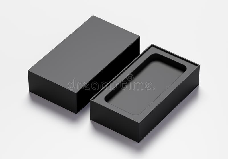 Pusty telefonu pudełko w czarnym kolorze - 3D ilustracja royalty ilustracja