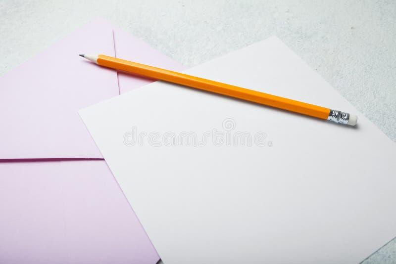 Pusty układ ślubny zaproszenie, kwadrata list obrazy stock