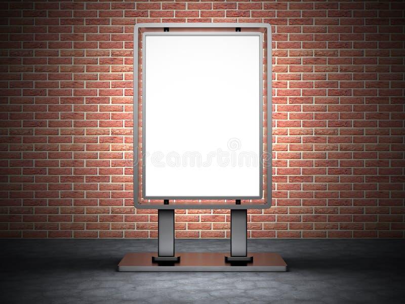 Pusty uliczny reklamowego billboardu sztandar na ściana z cegieł Backgrou obraz stock