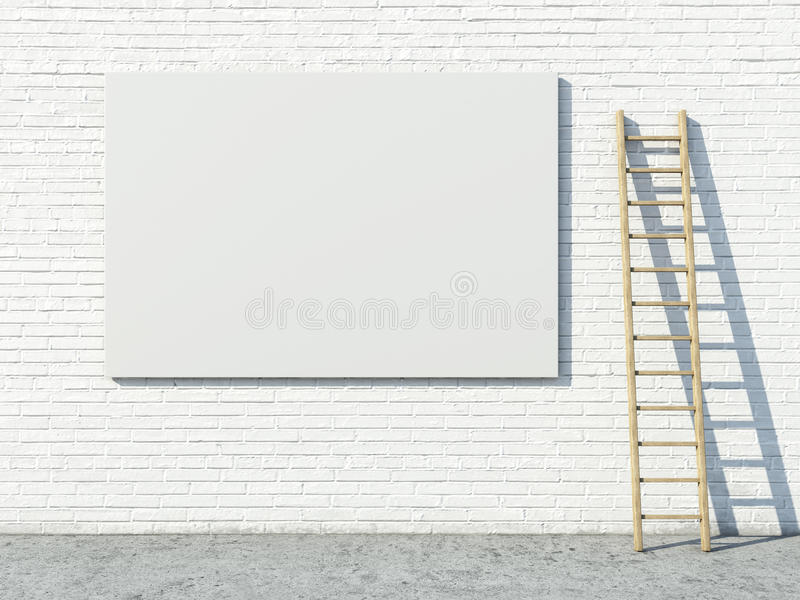 Pusty uliczny reklamowy billboard na ściana z cegieł royalty ilustracja