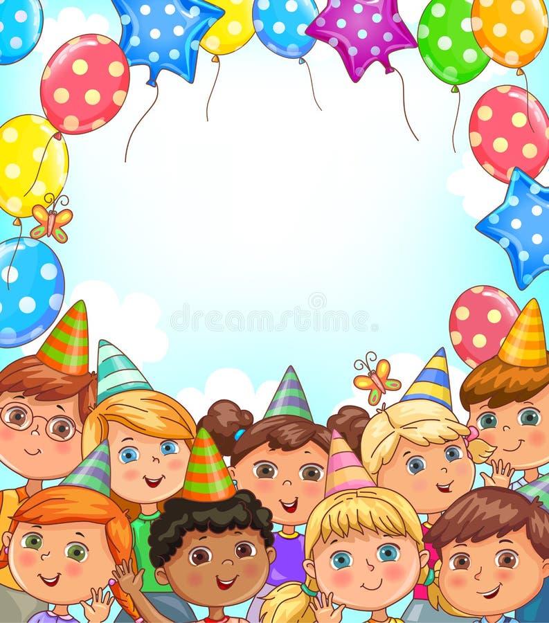Pusty wakacyjny sztandar z balonami i śmiesznymi dzieciakami royalty ilustracja