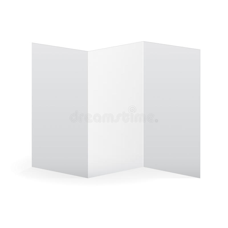 Pusty wektorowy biały trifold broszurka szablon ilustracji