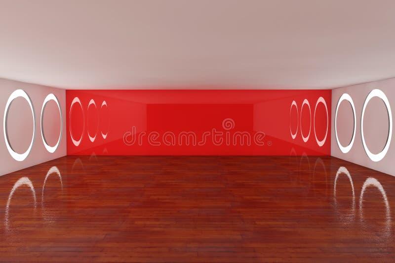 pusty wewnętrzny czerwony pokój ilustracji