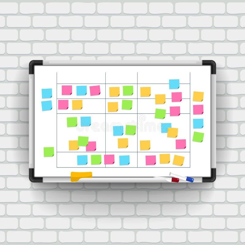 Pusty whiteboard z markierów piórami i nutowym papierem Biznes prese ilustracja wektor