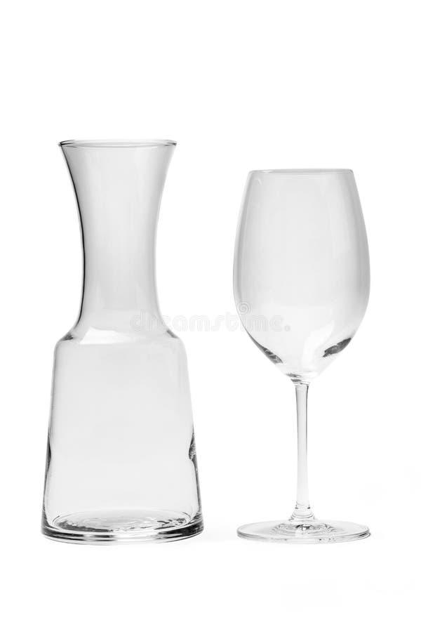Pusty wina szkło, karafka Z ścinek ścieżką I, obraz stock