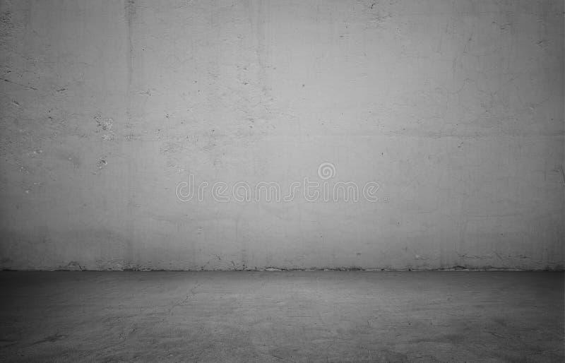 Pusty wnętrze dla projekta, białej betonowej ściany i czarnej drewnianej podłoga, obrazy royalty free
