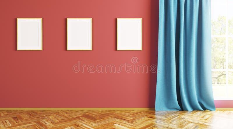 Pusty wnętrze z trzy ramami na ścianie 3d odpłaca się ilustracja wektor