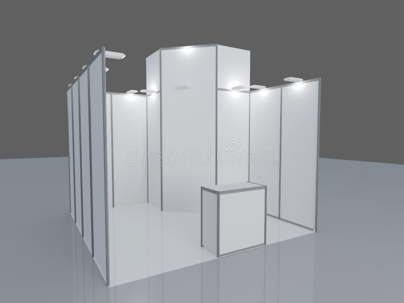 Pusty wystawa stojak 3d odpłacają się odosobniony na białym tle, Pusty handlowego wydarzenia stojak ilustracja wektor