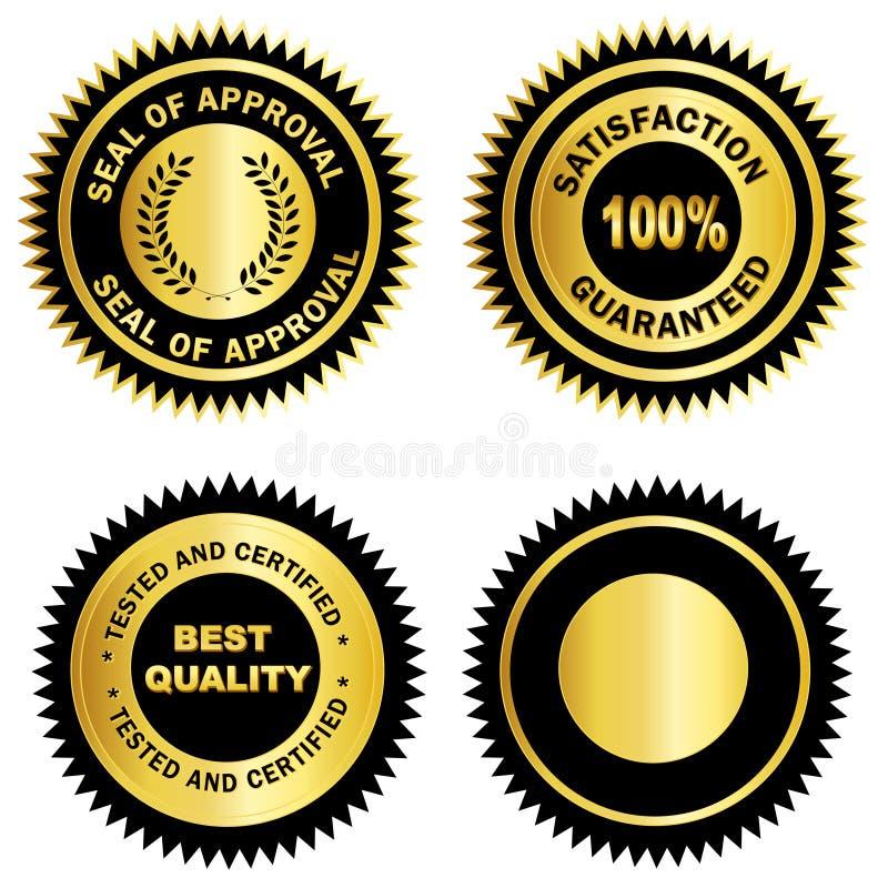 pusty złotego medalu foki znaczek ilustracja wektor