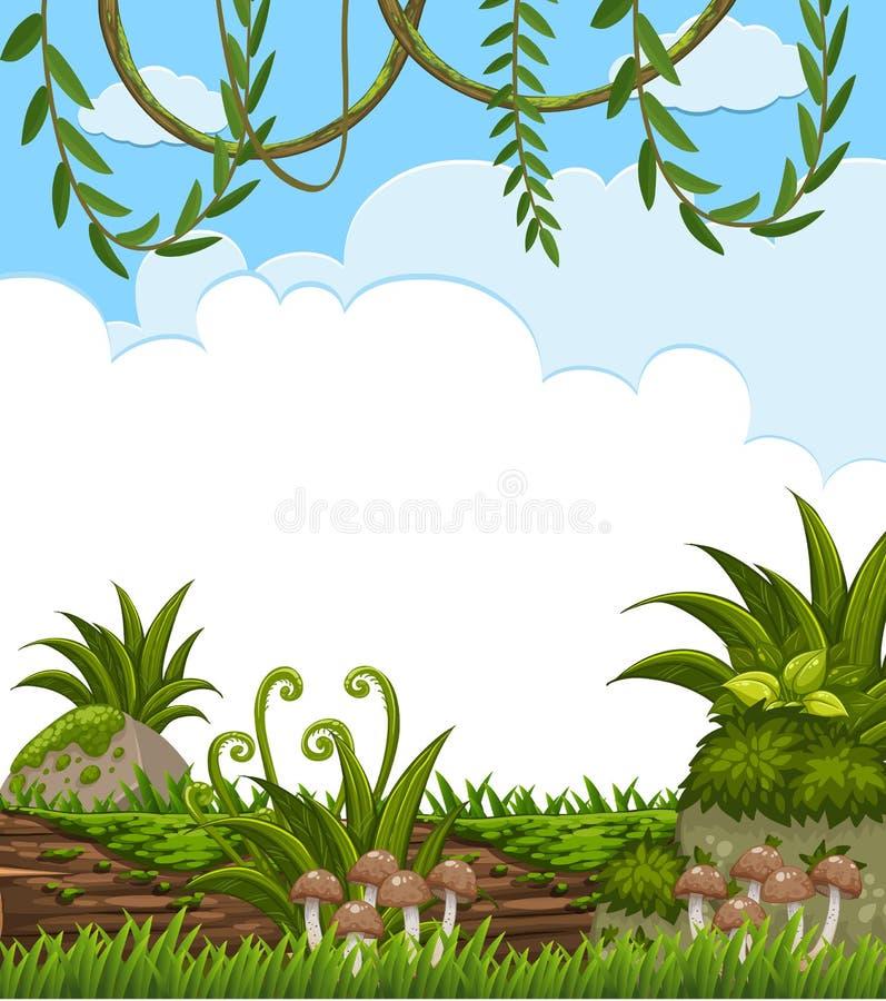 Pusty Zielony dżungla szablon ilustracji