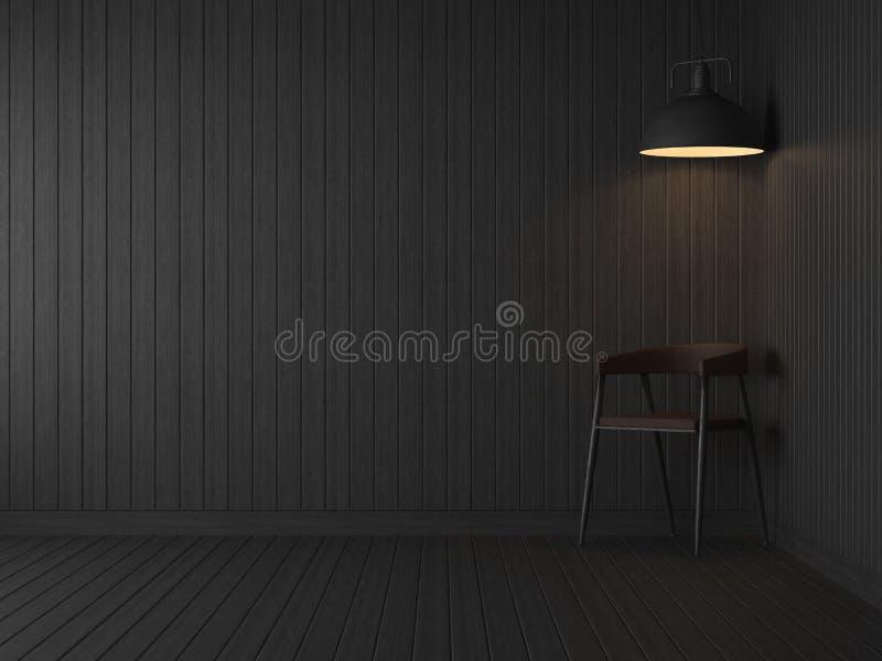 Pusty zmrok z czarnym drewnianym deska pokojem 3d odpłaca się ilustracja wektor