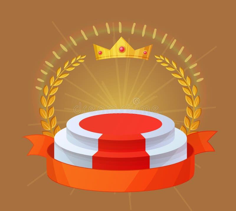 Pusty zwycięzcy podium Mistrz nagroda, prezentaci tło z koroną ilustracja wektor