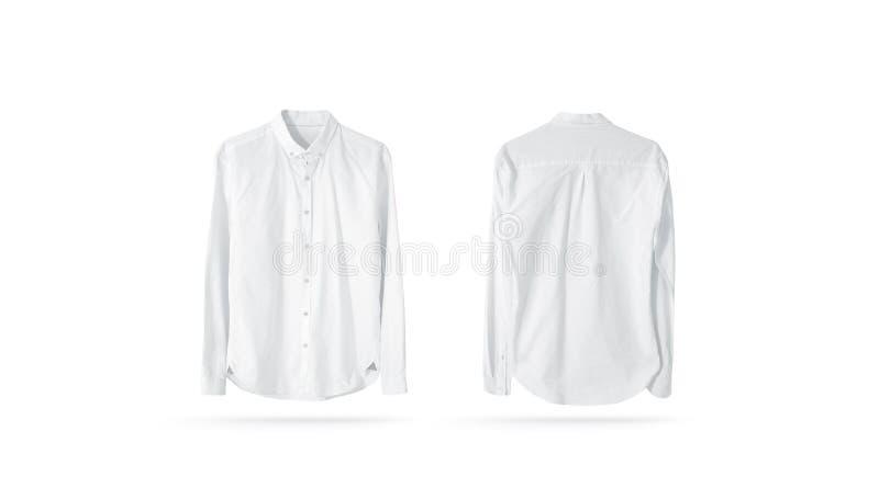 Pustych białych klasycznych mężczyzn koszulowy mockup, odizolowywający obraz stock
